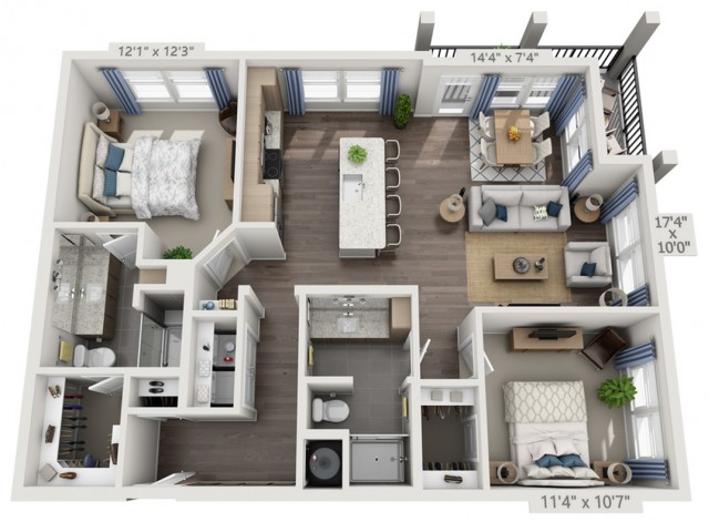 B3   2 bed 2 bath   from 1189 square feet