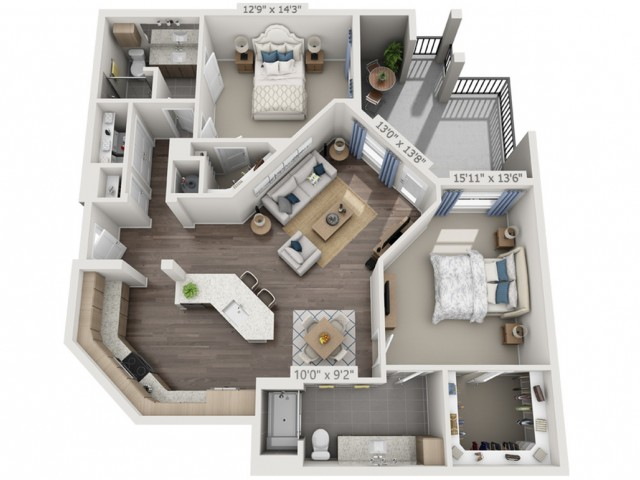 B4A   2 bed 2 bath   from 1331 square feet