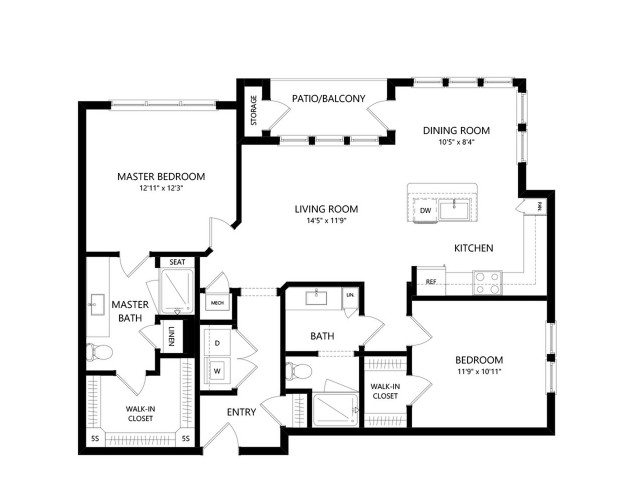 B2A | 2 bed 2 bath | from 1133 square feet
