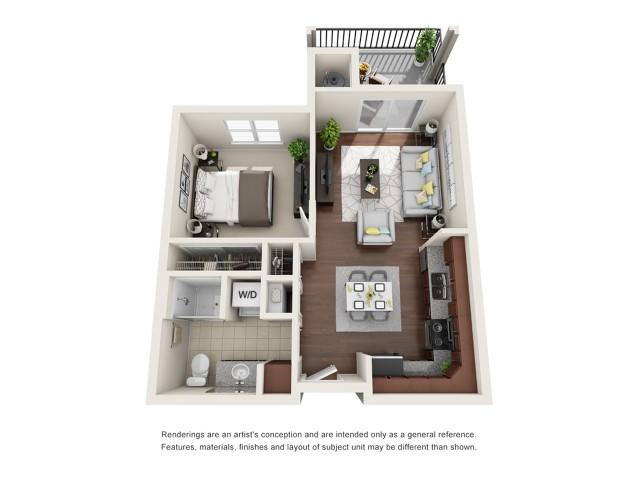 A1 | 1 bed 1 bath | 691 sq ft