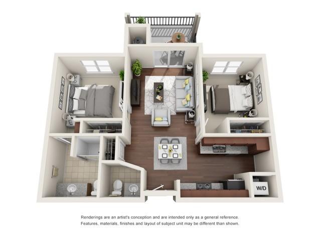 B2 | 2 bed 1.5 bath | 927 sq ft