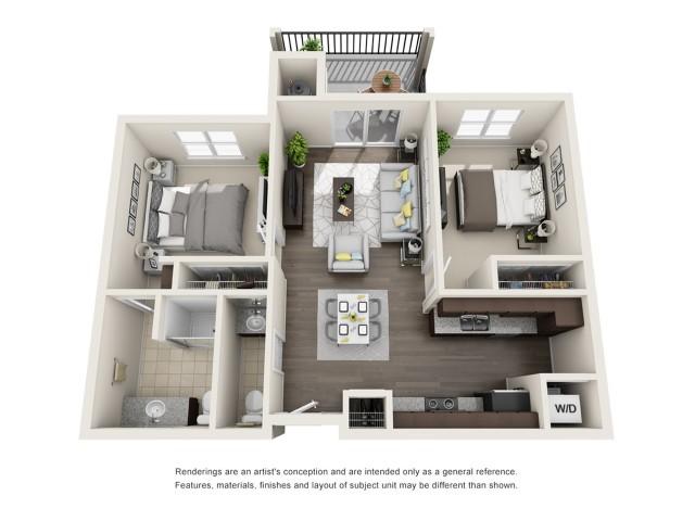 B3 | 2 bed 1.5 bath | 907 sq ft