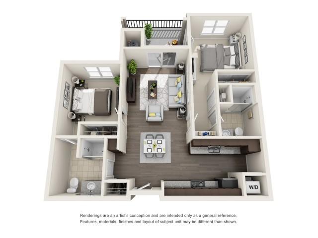 C3 | 2 bed 2 bath | 1119 sq ft