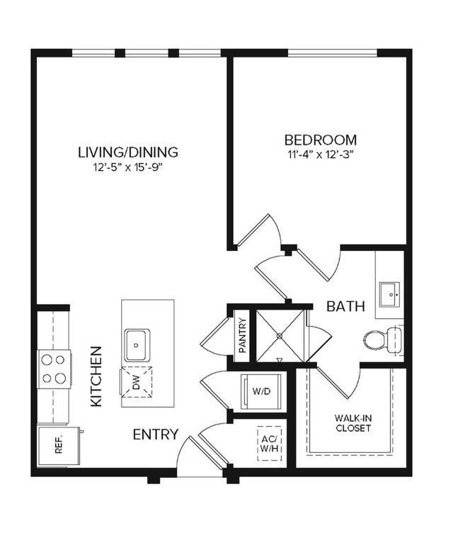 A1   1 bed 1 bath   700 sq ft