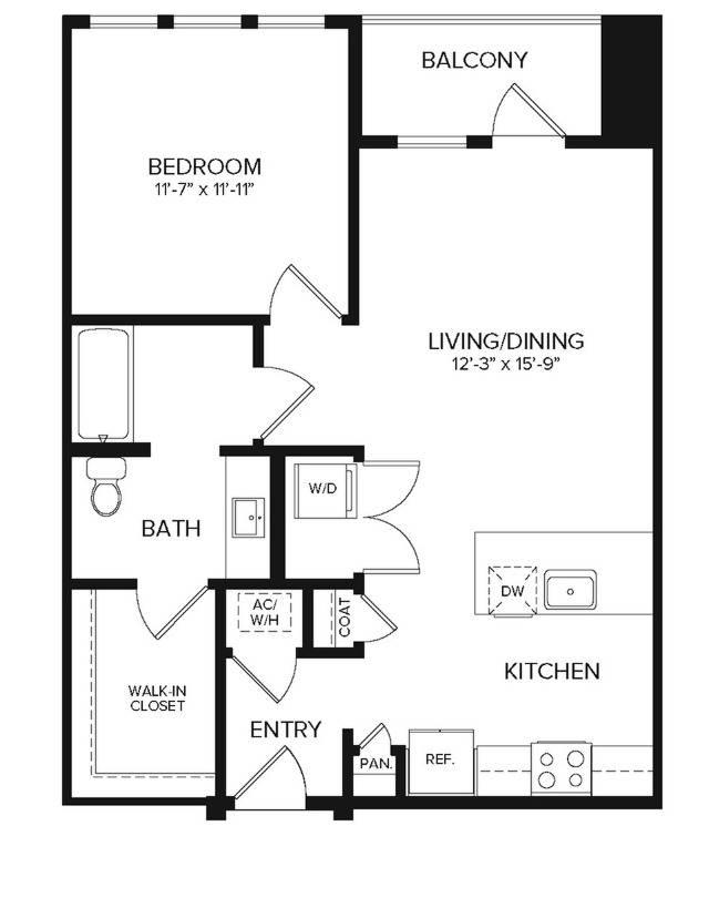 A2  ANSI   1 bed 1 bath   770 sq ft