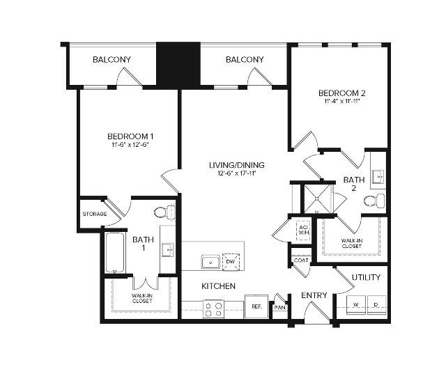 B1 Alt1   2 bed 2 bath   1074 sq ft