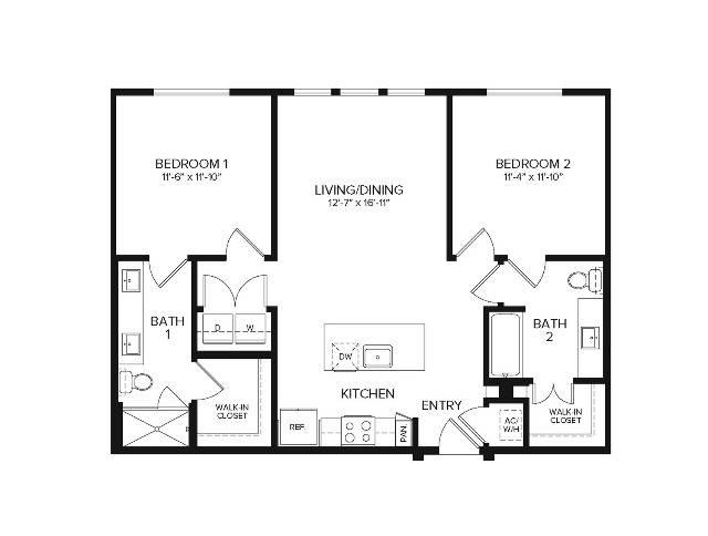B1   2 bed 2 bath   1256 sq ft