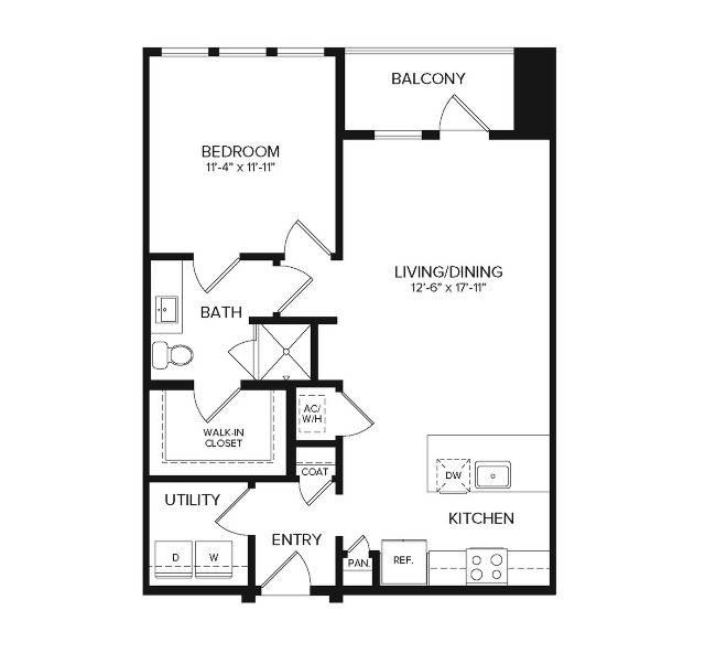 A2   1 bed 1 bath   773 sq ft