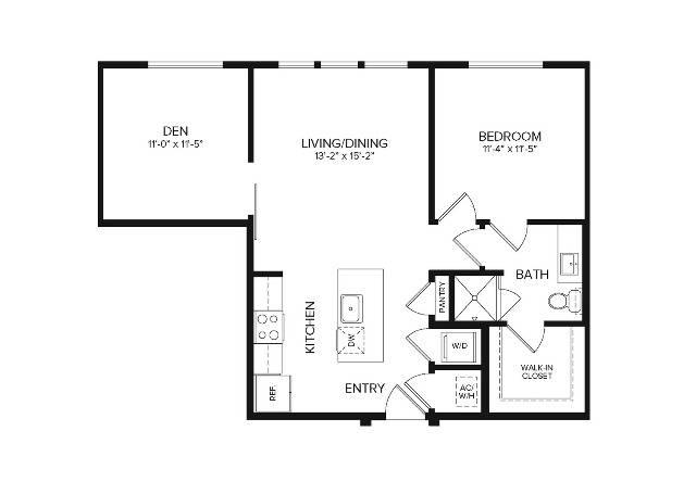 A3   1 bed 1 bath   840 sq ft