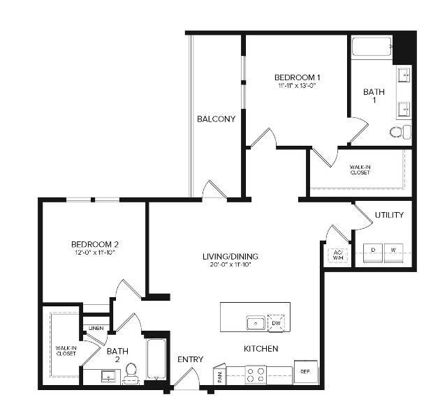 B3 ANSI   2 bed 2 bath   1256 sq ft