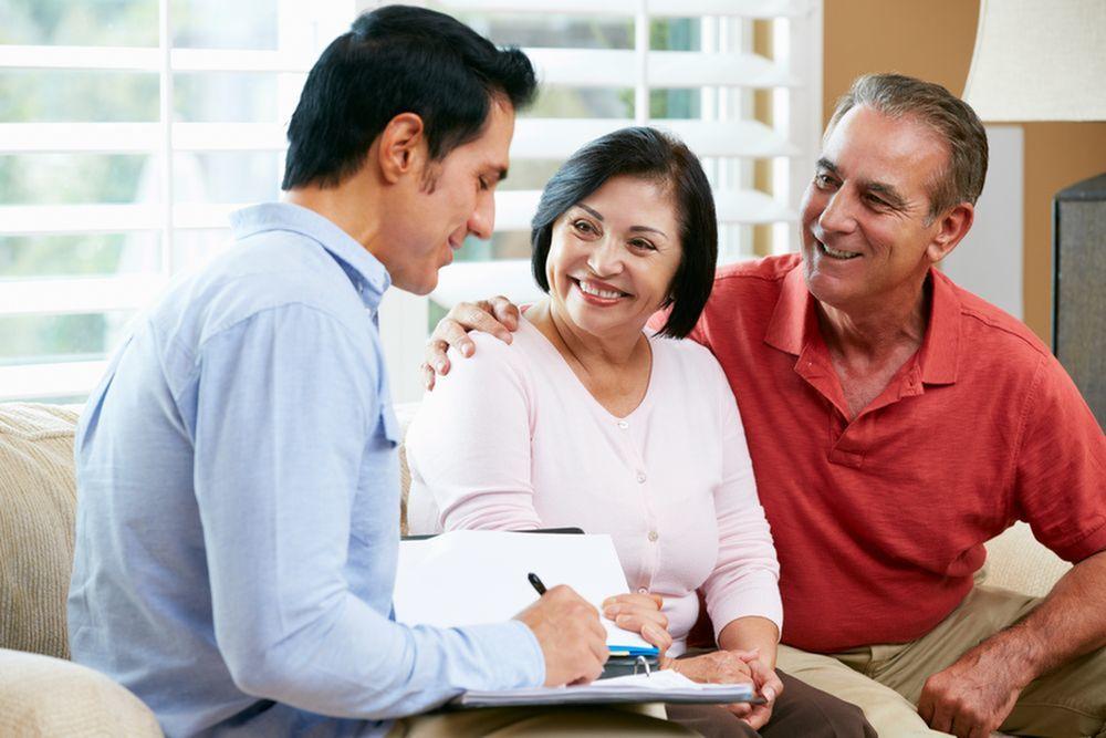 Older adult couple planning for retirement
