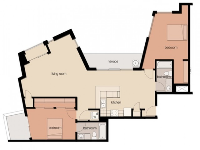 2 Bedroom 2 Bath Suite