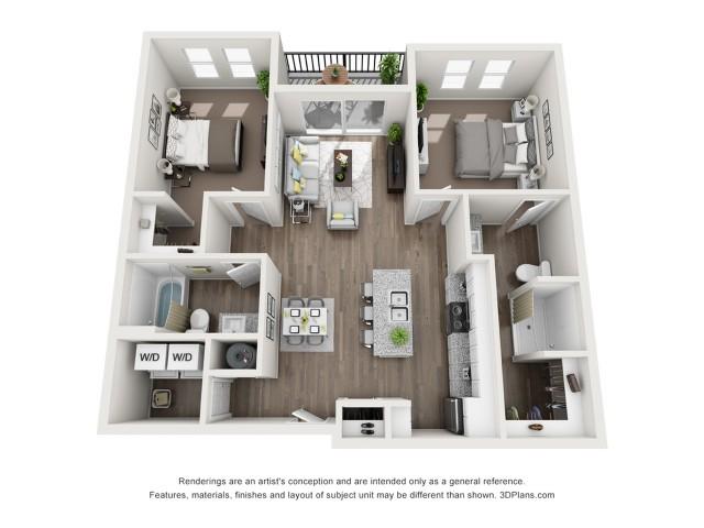 2 bedroom 2 bath 1019sqft