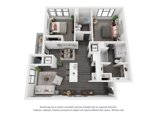 Bryce Canyon Floorplan - 2 Bedroom