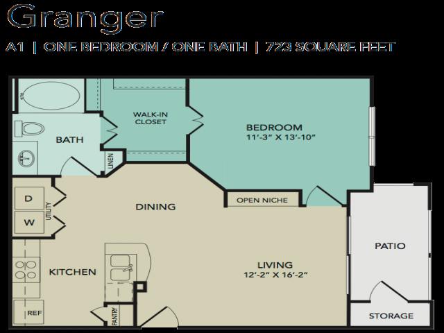 Granger 1x1 723 sq ft