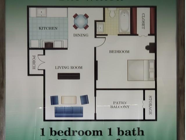 617 sq ft 1 bed 1 bath
