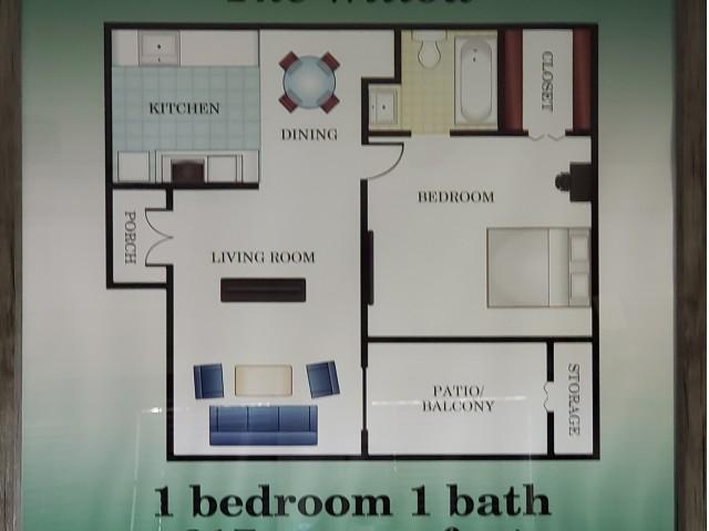 1 bedroom 1 bathroom 617 sq. ft