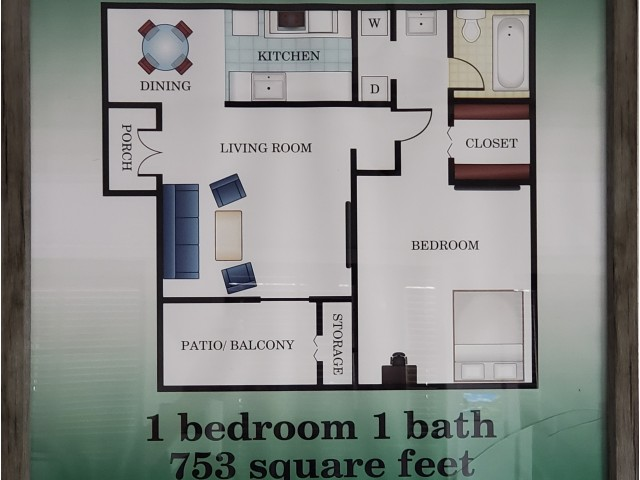 1 bedroom 1 bathroom 753 sq. ft