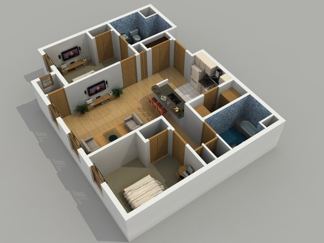 0 for the 2 Bedroom / 2 Bathroom floor plan.