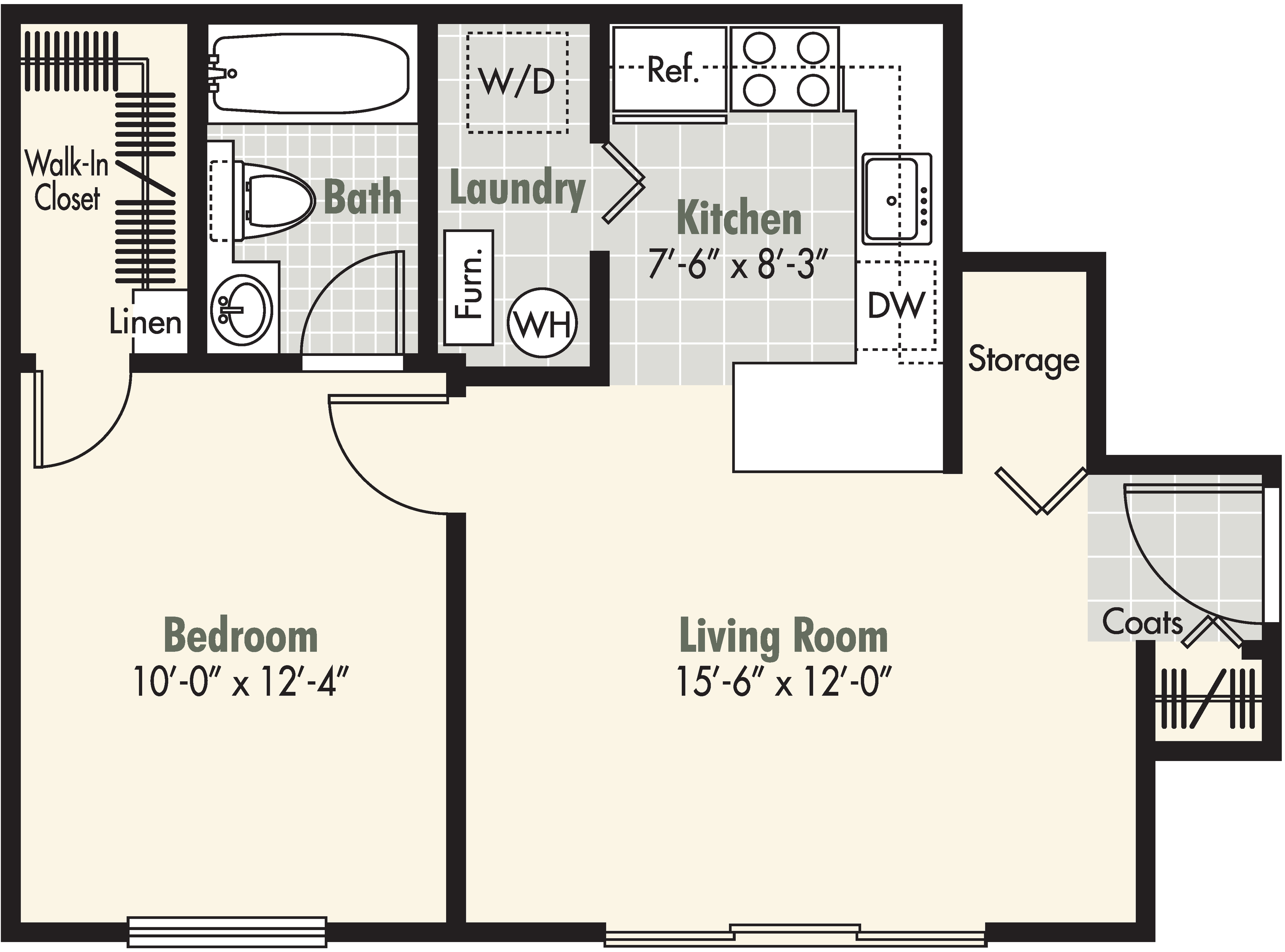 1 Bedroom - 1 Bath