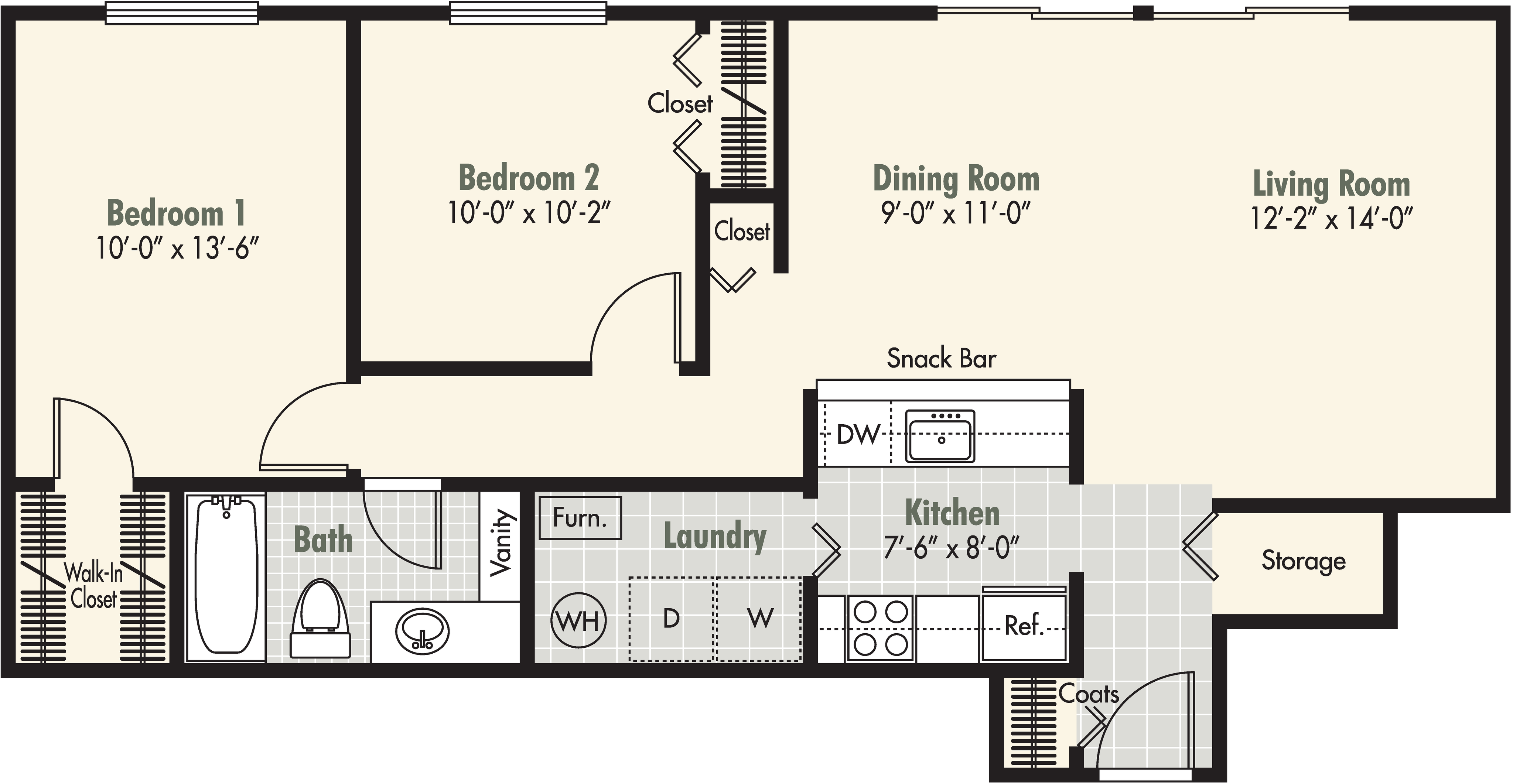 2 Bedroom - 1 Bath