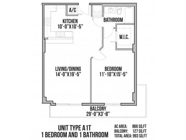 A1T | 1 Bedroom, 1 Bath