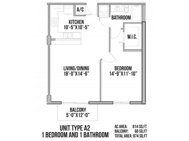 A2 | 1 Bedroom, 1 Bath