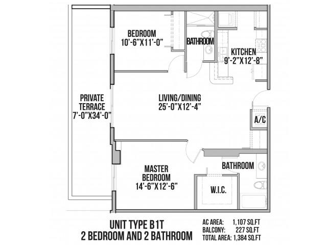 B1T | 2 Bedroom, 2 Baths