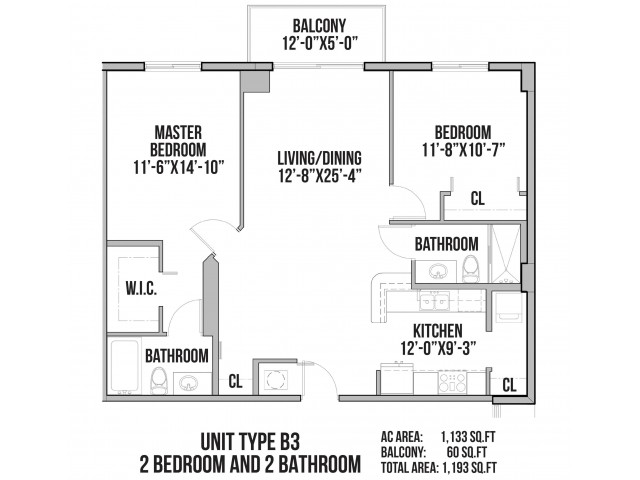 B3 | 2 Bedrooms, 2 Baths