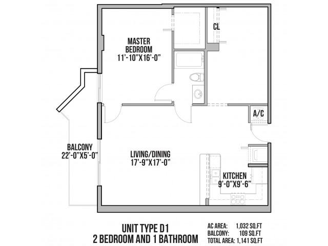D1 | 2 Bedrooms, 1 Bath