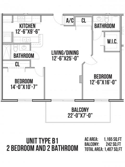 B1 | 2 Bedrooms, 2 Bath