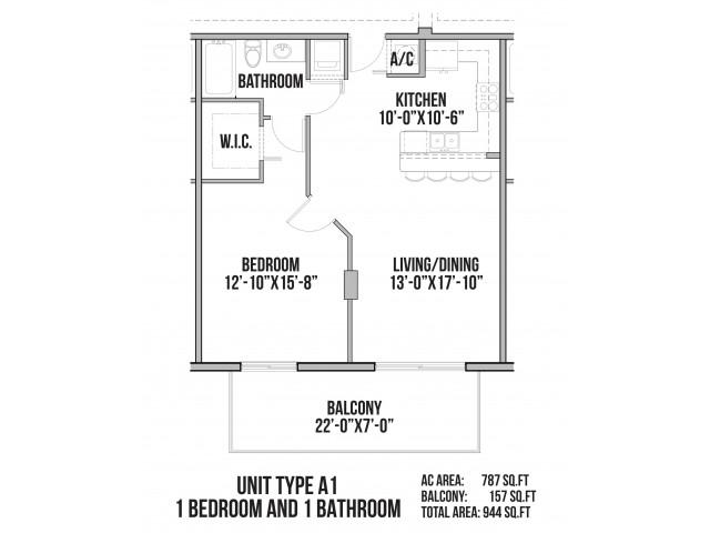 A1 | 1 Bedroom, 1 Bath