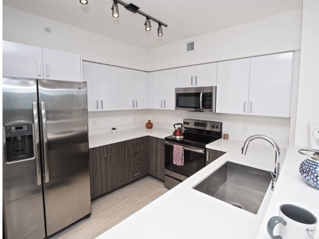 Image of Italian Style Kitchens Featuring Upgraded Stainless Steel Energy Efficient Appliances for Miami Bay Waterfront Midtown Residences