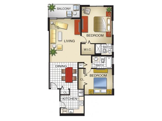 2 Bedroom, 2 Bath (corner unit)