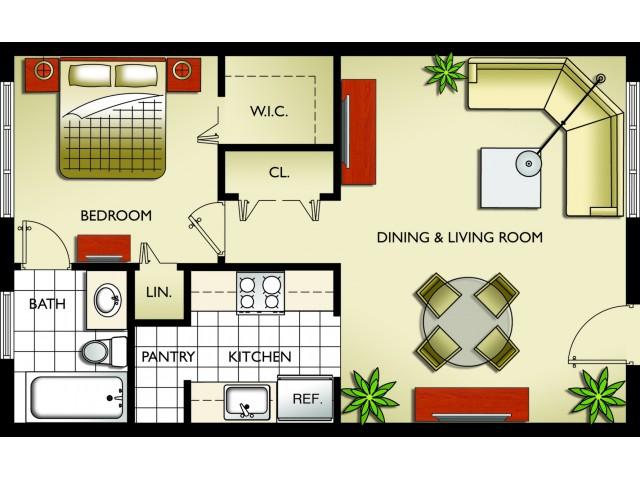 Model B - 1 Bedroom, 1 Bath