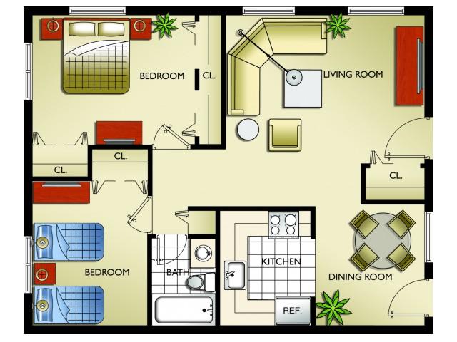 Model A D - 2 Bedroom, 1 Bath