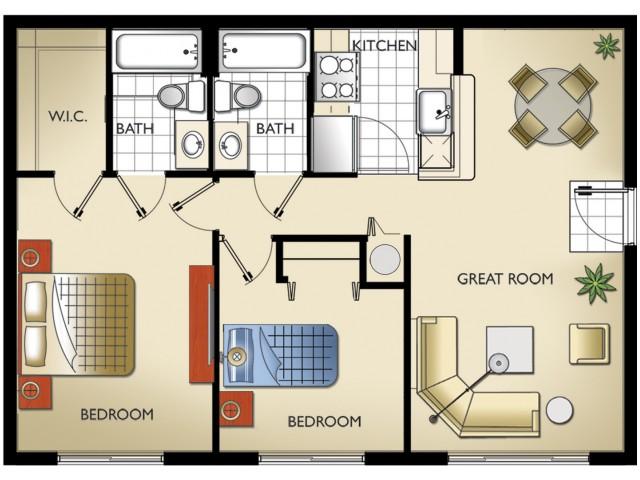 Model N - 2 Bedroom, 2 Bath
