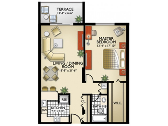 Model, A | 1 Bedroom, 1 Bath