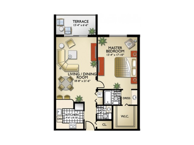 Model, S | 1 Bedroom, 1 Bath