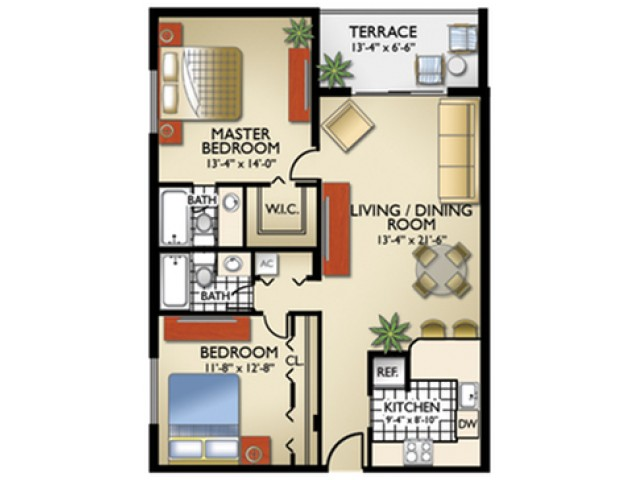 Model, B | 2 Bedroom, 2 Bath