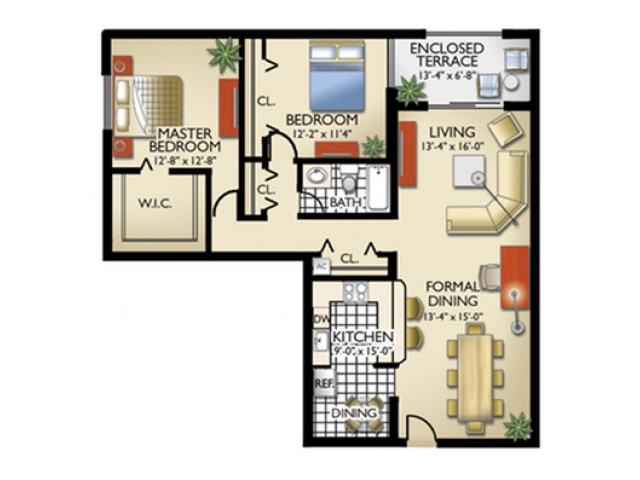 Model, C | 2 Bedroom, 1 Bath