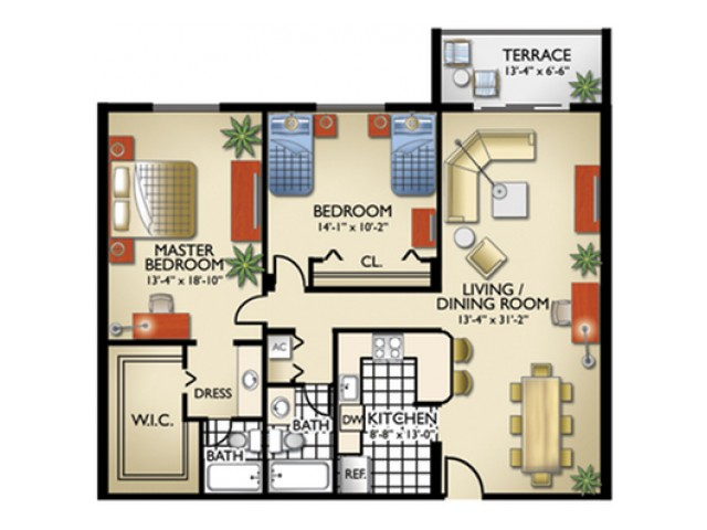 Model, D | 2 Bedroom, 2 Bath