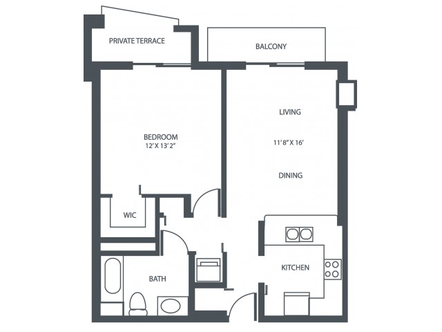 Unit D2 | 1 Bedroom, 1 Bath