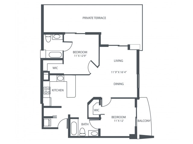 Unit A2 | 2 Bedroom, 2 Bath