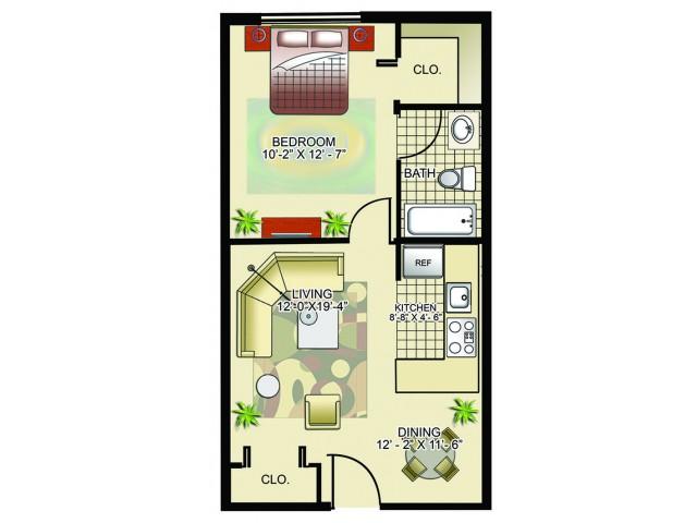 Model D | 1 Bedroom, 1 Bathroom
