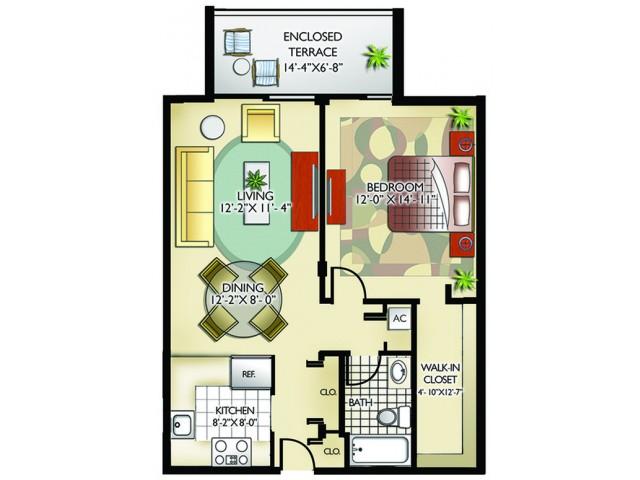 Model A | 1 Bedroom, 1 Bathroom