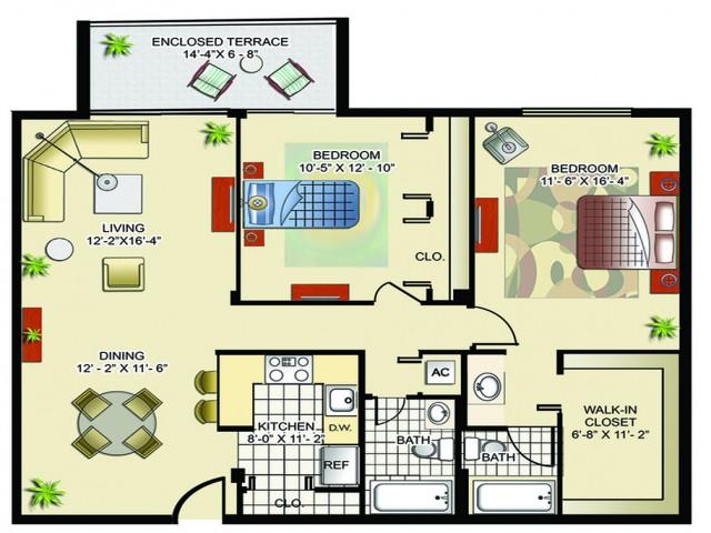 Model C | 2 Bedrooms, 2 Bathrooms