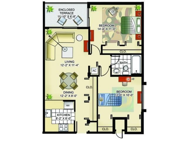Model I | 2 Bedrooms, 1 Bathroom