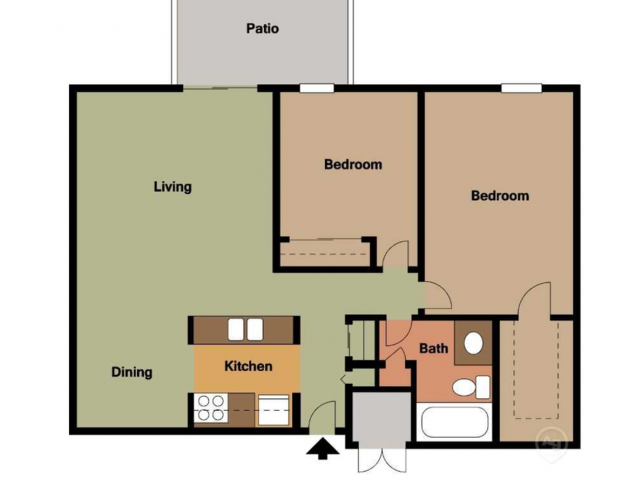 Two Bedroom, One Bathroom Apartment