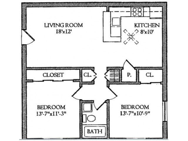 2 Bedroom ,1 Bathroom